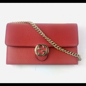 Gucci Bags - Gucci  510314 GG Closure Chain Crossbody Wallet 79e30237f4a17